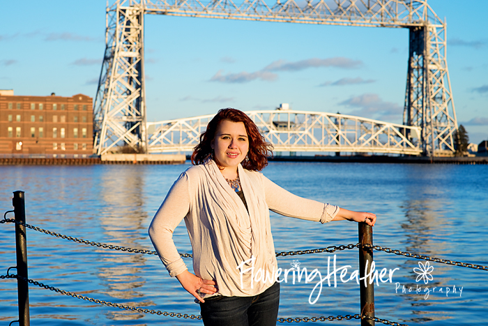 Stunning Senior with Lift Bridge on Duluth Harbor
